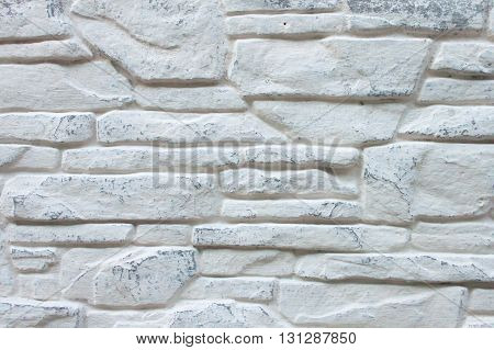 Background of Decorated Brick Wall Whitewashed with Light Grey Color Paint