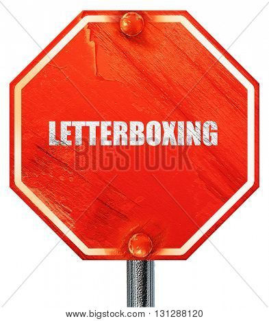 letterboxing, 3D rendering, a red stop sign