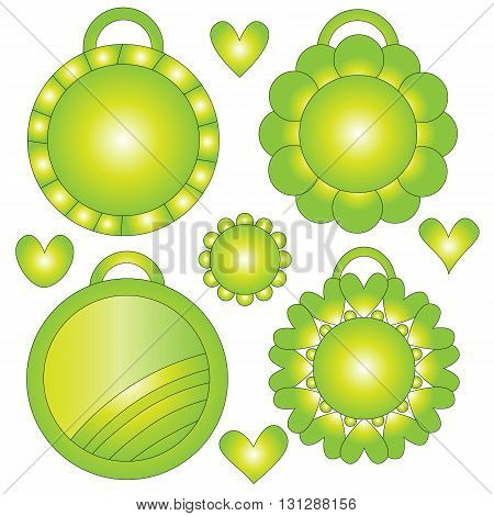 Green yellow and whit tags and hearts collection over white background