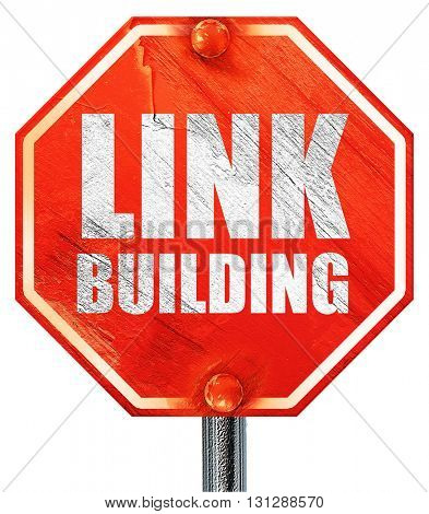 link building, 3D rendering, a red stop sign