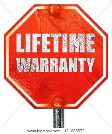 lifetime warranty, 3D rendering, a red stop sign