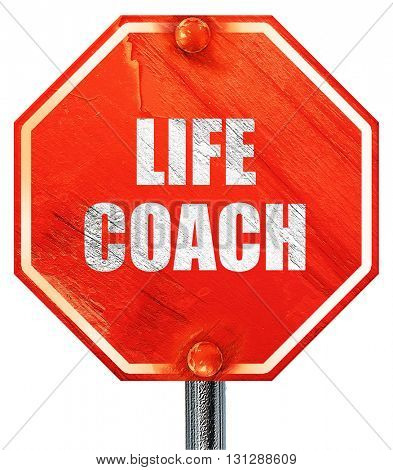 life coach, 3D rendering, a red stop sign