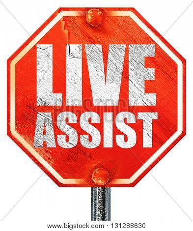 live assist, 3D rendering, a red stop sign