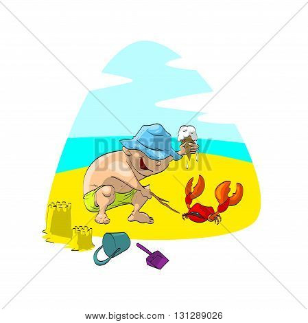 Colorful vector illustration of boy on the beach, playing with a crab.