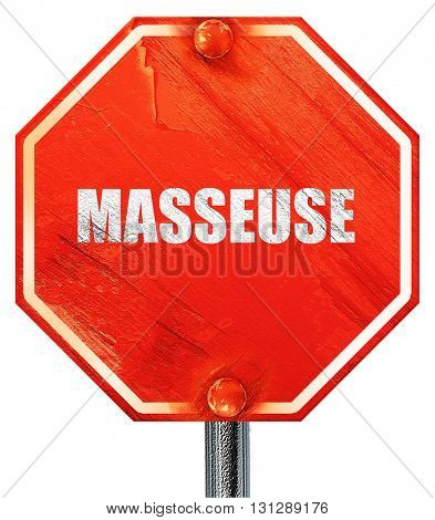 masseuse, 3D rendering, a red stop sign