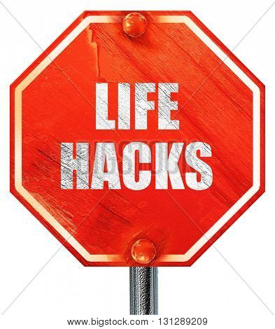 life hacks, 3D rendering, a red stop sign