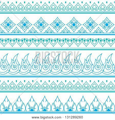 Seamless blue Thai pattern, repetitive design from Thailand - folk art style
