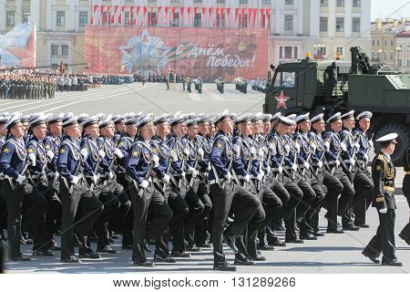 St. Petersburg, Russia - 9 May, Slender ranks of sailors, 9 May, 2016. Festive military parade on the Palace Square in St. Petersburg.