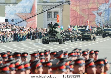 St. Petersburg, Russia - 9 May, T-34 tanks in the parade, 9 May, 2016. Festive military parade on the Palace Square in St. Petersburg.
