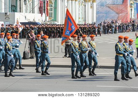 St. Petersburg, Russia - 9 May, Bearers Group in blue uniforms, 9 May, 2016. Festive military parade on the Palace Square in St. Petersburg.