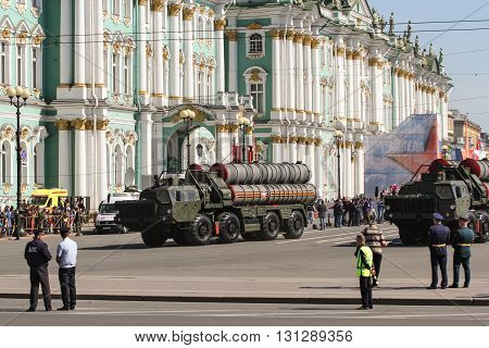 St. Petersburg, Russia - 9 May, Strategic missile systems on the parade, 9 May, 2016. Festive military parade on the Palace Square in St. Petersburg.