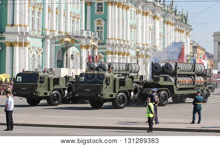 St. Petersburg, Russia - 9 May, Heavy military trucks with rocket launchers, 9 May, 2016. Festive military parade on the Palace Square in St. Petersburg.