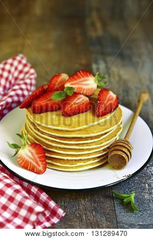Pancakes With Honey And Strawberry.
