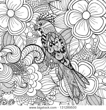 Cute parrot in fantasy flowers. Animals. Hand drawn doodle. Ethnic patterned illustration. African, indian, totem tatoo design. Sketch for avatar, tattoo, poster, print or t-shirt.
