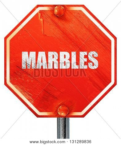 marbles, 3D rendering, a red stop sign