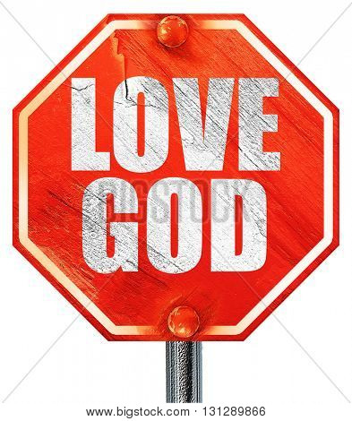 love god, 3D rendering, a red stop sign