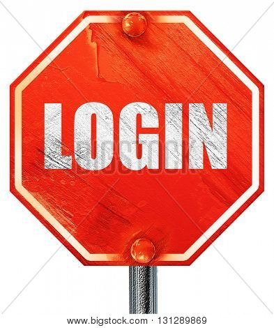 login, 3D rendering, a red stop sign