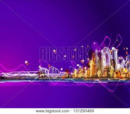 Colorful silhouette city sunrise panorama . Conceptual abstract city image. Vector background.