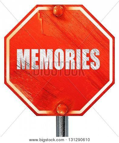 memories, 3D rendering, a red stop sign