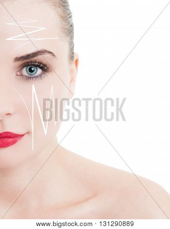Half Face Portrait Of Beautiful Woman With Facelift Arrows