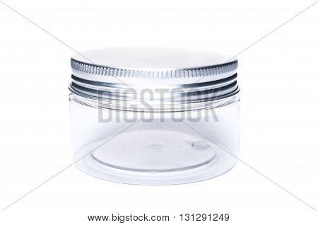 Small New Plastic Jar Or Recipient With Aluminum Lid Cap