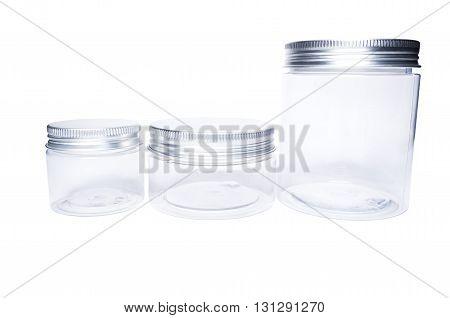 Transparent Plastic Jars Or Containers With Aluminum Lids