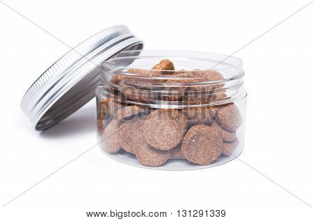 Transparent Jar Of Cat Or Dog Food