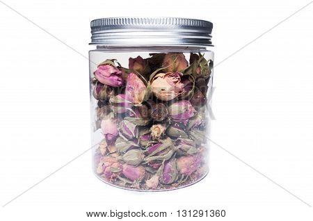 Dry Tea Flower Blooms In Kitchen Storage Container Or Jar