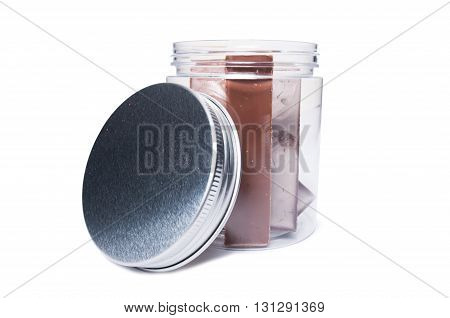 Chocolate Bars In Transparent Kitchen Storage Container Or Jar