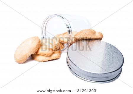 Cookies Or Biscuits In Kitchen Plastic Storage Container Or Jar