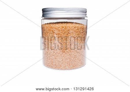 Brown Sugar In Transparent Plastic Jar Storage Container