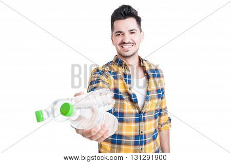 Beautiful And Smiling Young Man Offering Cold Water For Hydration