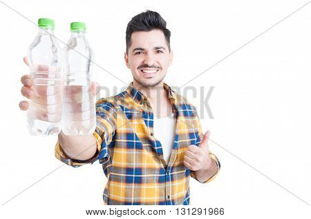 Handsome Smiling Man Thumb-up And Encourage Water Consumption