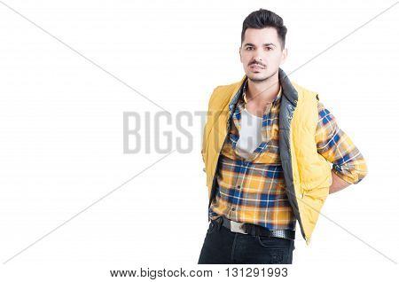 Handsome Male Posing In Fashionable Casual And Trendy Clothes