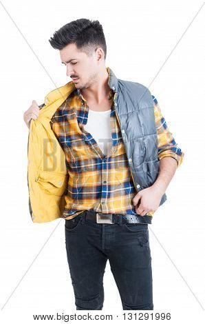 Attractive Male Model Wearing Plaid Shirt And Holding His Vest