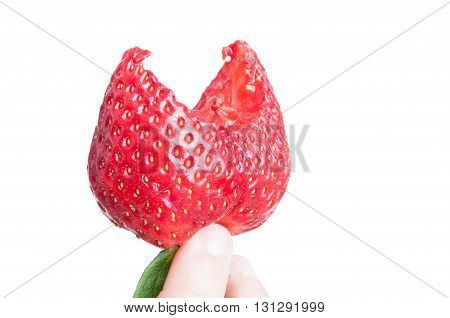 Close-up Of Fresh Strawberry With A Bite