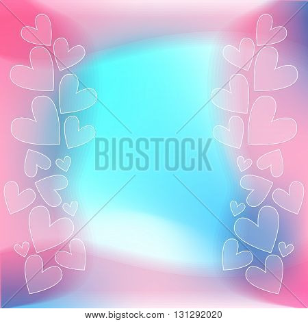 Romantic pink blue turquoise and white heart background