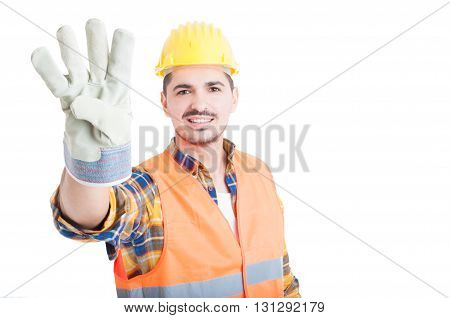 Joyful Young Constructor Or Builder With Number Four Gesture