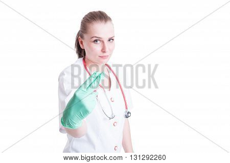Woman Doctor Holding Two Fingers As Penetration Concept