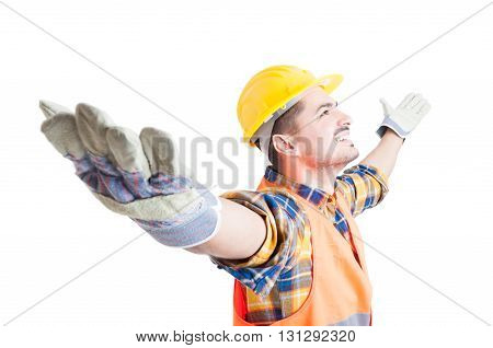 Portrait Of Happy Constructor With Arms Wide Open Celebrating Success