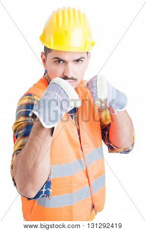 Furious Engineer Showing His Fists And Standing In Fighting Position