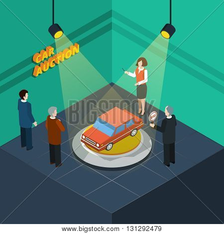 Isometric car auction process abstract with bidding people looking at the car presented vector illustration