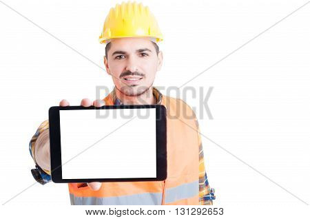 Attractive Smiling Engineer Showing The Blank Screen Of A Tablet