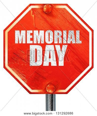 memorial day, 3D rendering, a red stop sign