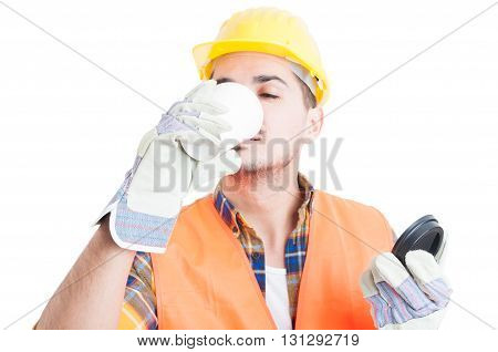 Closeup Portrait Of Constructor Drinking A Coffee On His Break