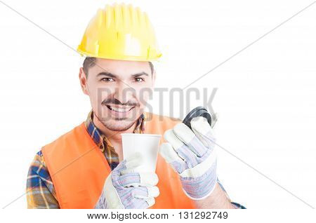 Close-up Portrait Of Handsome Engineer With A Cup Of Coffee
