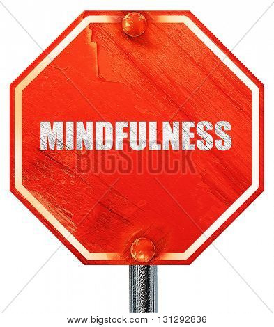 mindfulness, 3D rendering, a red stop sign