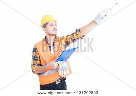 Work Instructions Concept With Engineer Taking Notes And Pointing Pencil