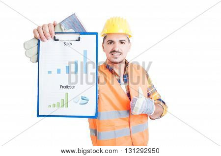 Young Constructor Thumb Up And Hold Sales Chart On Clipboard