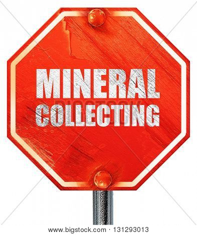 mineral collecting, 3D rendering, a red stop sign
